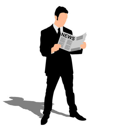 news paper: young businessman reading news paper, vector Illustration