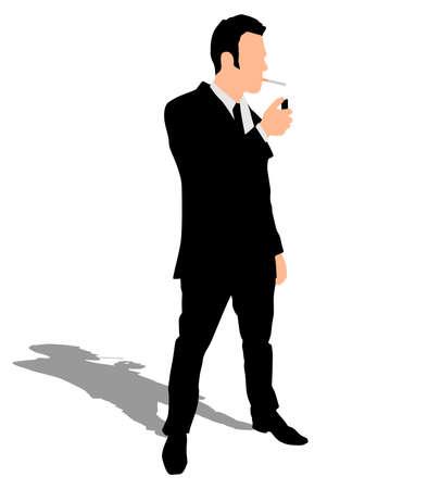 smoking cigarette: businessman smoking cigarette, vector