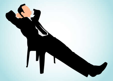 fullbody: Young businessman taking a break, vector