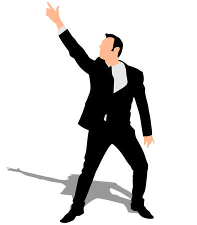 mature business man: Successful businessman dancing, vector Illustration