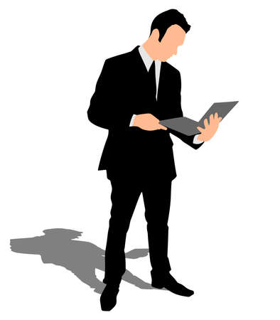comunication: Successful businessman holding a laptop, vector Illustration