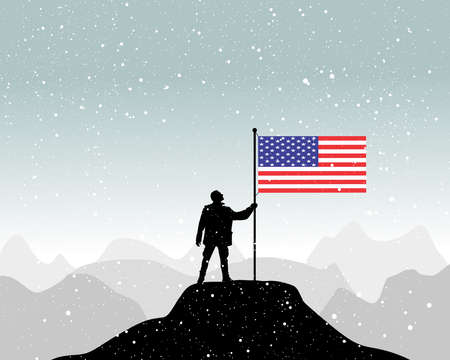 glory of the snow: man holding a flag of USA, vector