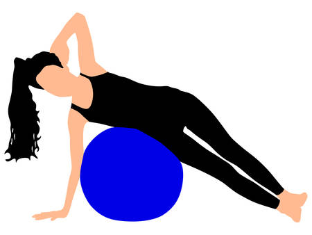 fitness woman: Fitness woman doing exercise with pilates ball, vector