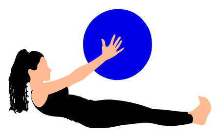 pilates ball: Fitness woman doing exercise with pilates ball, vector