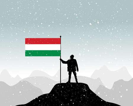 european alps: man holding a flag of hungary, vector Illustration