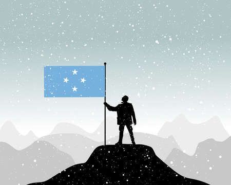 micronesia: man holding a flag of Micronesia, vector