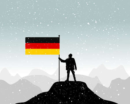 glory of the snow: man holding a flag of germany, vector