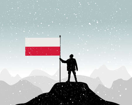 glory of the snow: man holding a flag of Poland, vector Illustration