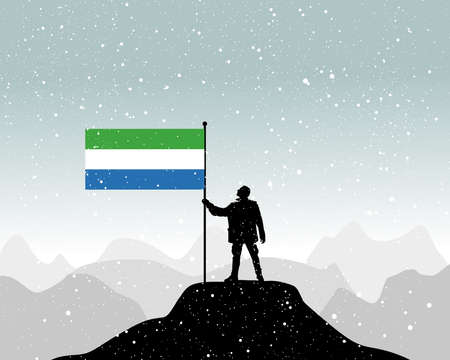 protest man: man holding a flag of Sierra Leone, vector