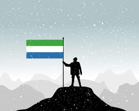 sierra: man holding a flag of Sierra Leone, vector