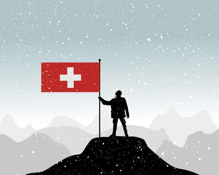 swiss alps: man holding a flag of Switzerland, vector