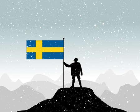 european alps: man holding a flag of sweden, vector Illustration