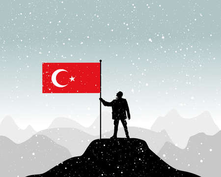 nationalist: man holding a flag of Turkey, vector