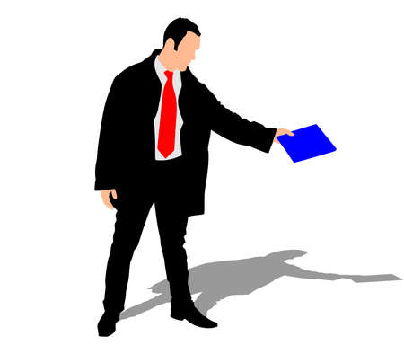 mature business man: successful businessman in coat holding folder, vector