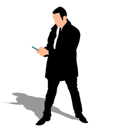 texting: Successful businessman with cellphone texting, vector