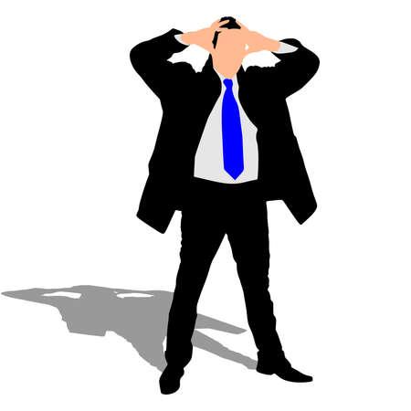 worried: worried businessman in coat, vector Illustration