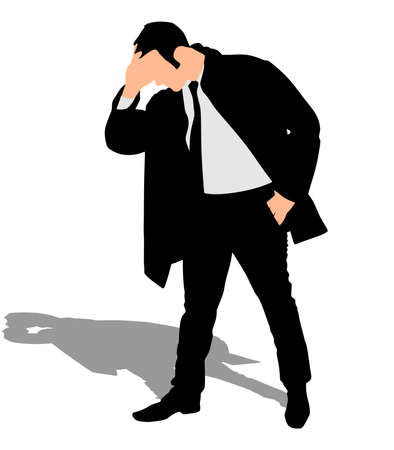 introverted: worried businessman in coat, vector Illustration
