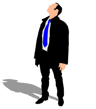 look up: successful businessman in coat look up, vector