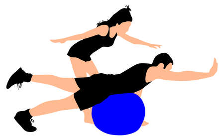 young girl: Young man exercising with girl, vector