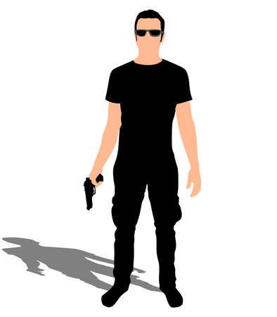 shadow man: Man with sunglasses holding gun, vector Illustration