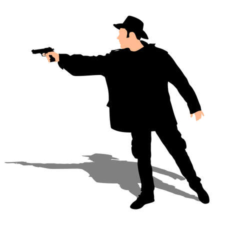 Man wearing vintage hat with two guns, vector