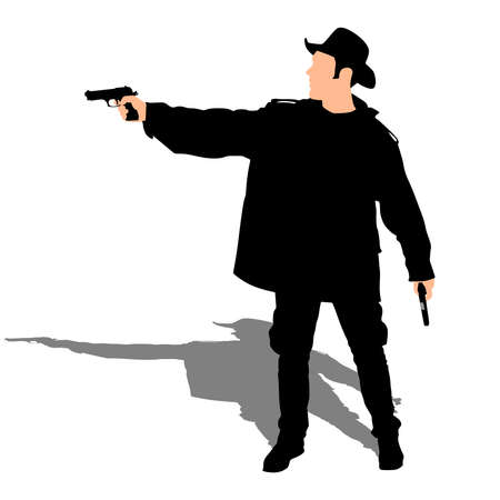 derby hats: Man wearing vintage hat with two guns, vector