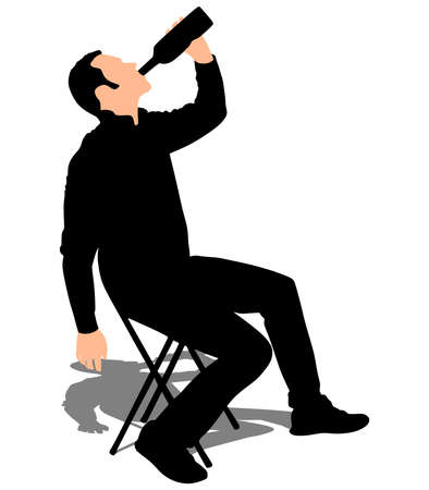 man holding: Man holding wine bottle, vector