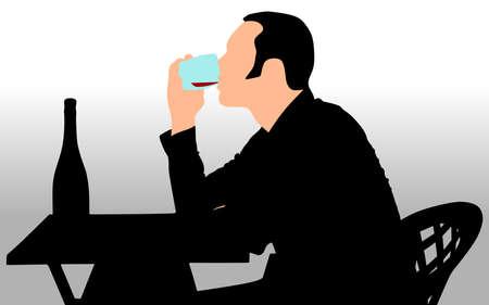 alcoholic: Alcoholic drunk man, vector