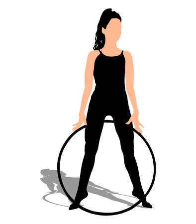 hula: Woman doing exercises with hula hoop, vector Illustration