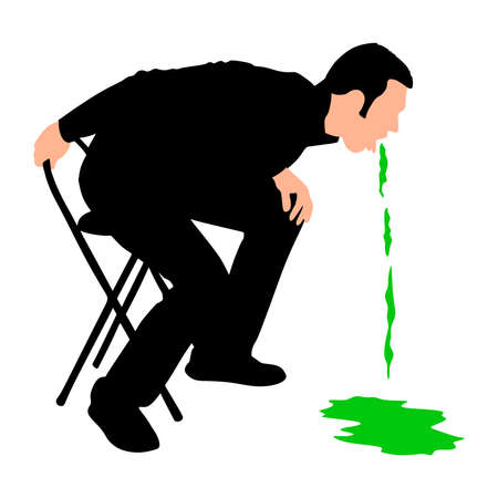 releasing: Man releasing a large stream of vomit, vector