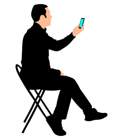 cellphone: Man looking at his cellphone, vector