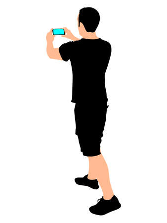 smart man: Man taking pictures with his smartphone, vector Illustration