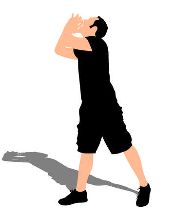 man yelling: Man calling with hands near his mouth, vector