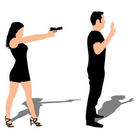 girl pointing gun on man, tell him to freeze