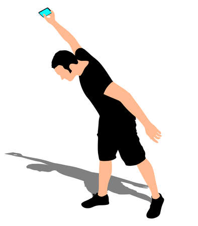 throwing: Angry man throwing his mobile phone, vector Illustration