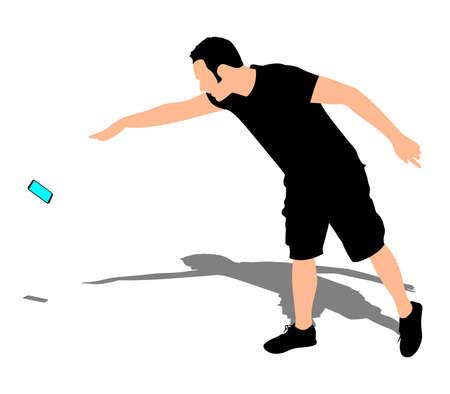 Hombre enojado que lanza su teléfono móvil, vector