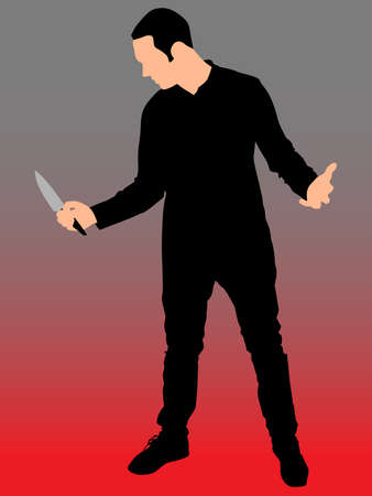 violent: Horror Silhouette of Man with Knife