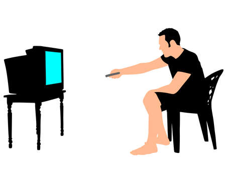 entertaining: Nervous and angry man watching tv, vector Illustration