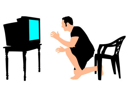 legs crossed: Man watching a game on TV, vector