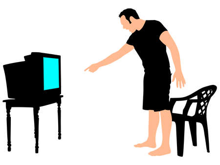 watching tv: Nervous and angry man watching tv, vector Illustration