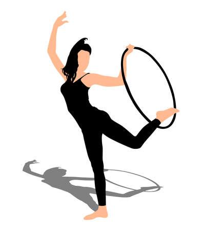 hula hoop: Woman doing exercises with hula hoop, vector Illustration