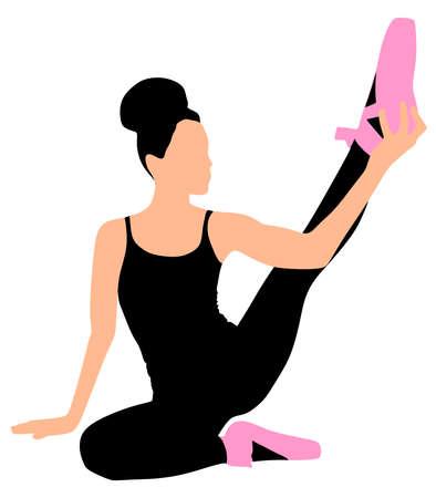pirouette: Young ballerina dancer, vector