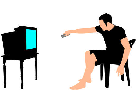 watching television: Man watching television, holds a remote control, vector Illustration