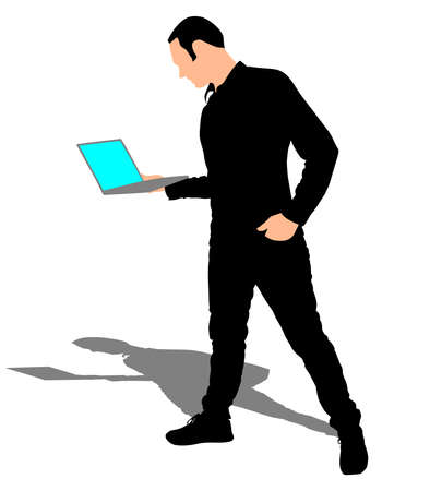 man with laptop: Man holding a laptop, vector