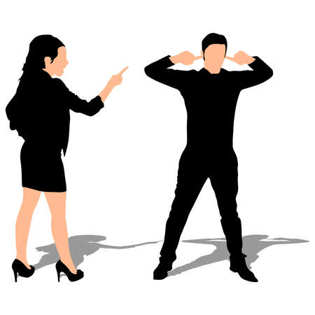Couple fight, woman point finger, man covers ears to not listen, vector