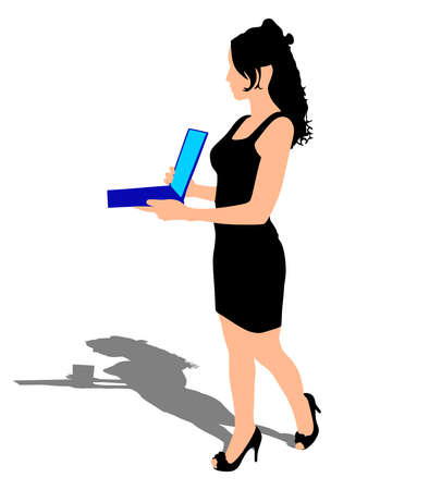 woman laptop: Business woman with a laptop, vector