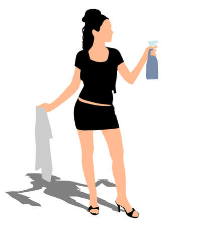 dusting: Young woman dusting, vector