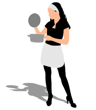 stereotypical: Beautiful girl cooking, vector