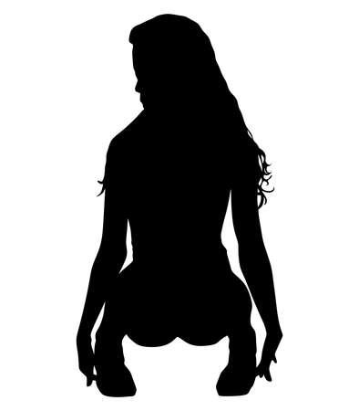 cuclillas: Joven y bella mujer en cuclillas, vector Vectores