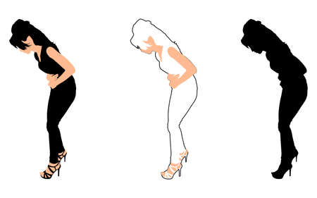 bulimia: Beautiful woman is touching her stomach, vector Illustration